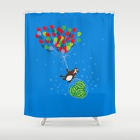 beaver Shower Curtains featuring Beaver with watermelons on balloons by Lana