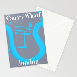 canary wharf, london map travel poster Stationery Cards