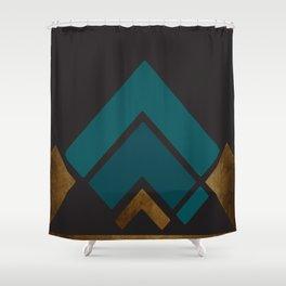 Art Deco Teal Pyramid Shower Curtain