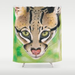 Ocelot Wild Cat Soft Pastel Art Shower Curtain