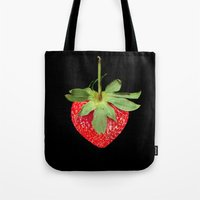 strawberry Tote Bags featuring strawberry by Arevik Martirosyan