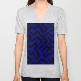Black and Navy Blue Diagonal Labyrinth Unisex V-Neck