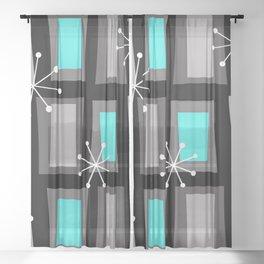 Mid Century Modern Art 'Wonky Doors' Turquoise Black Sheer Curtain