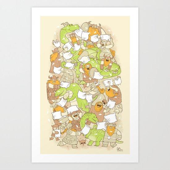 Vikings vs Dragons Art Print