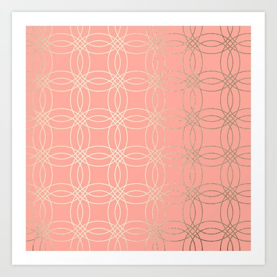 Simply Vintage Link in White Gold Sands and Salmon Pink Art Print