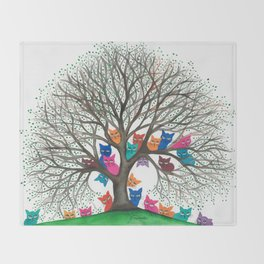 Connecticut Whimsical Cats in Tree Throw Blanket