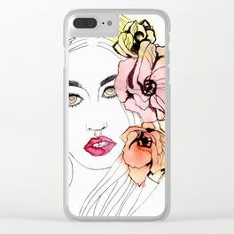 The Resting B*tch Face, floral design Clear iPhone Case