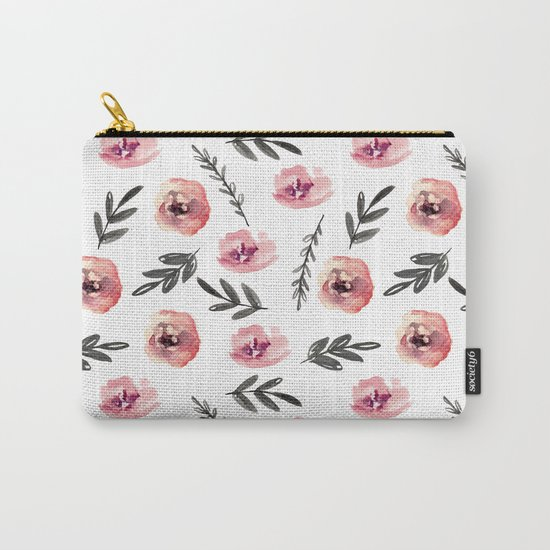 Pink flowers and black branches. Watercolor Carry-All Pouch