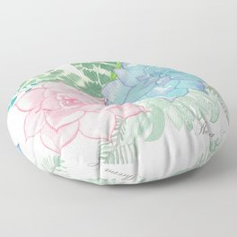 Pastel Succulent Watercolor Floor Pillow