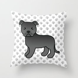 Black English Staffordshire Bull Terrier Cartoon Dog Throw Pillow
