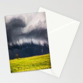 Passing By - Storm and Lone Tree in Nebraska Stationery Cards