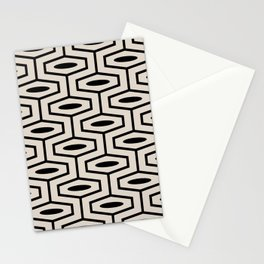Geometric Ogee Pattern 123 Black and Linen White Stationery Cards