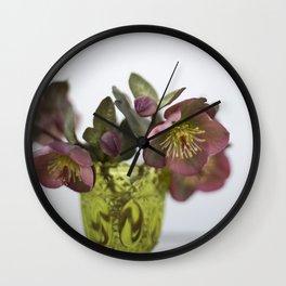 Purple Hellebore Wall Clock