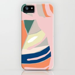 Monstera leaf Jungle mid century modern paper collage iPhone Case