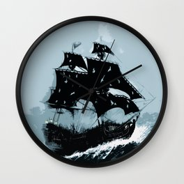 Pirate in Storm Wall Clock