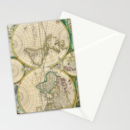 Vintage Map of The World (1670) Stationery Cards