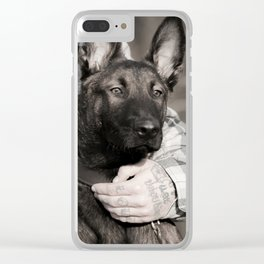 Love and protection for humans and animals Clear iPhone Case