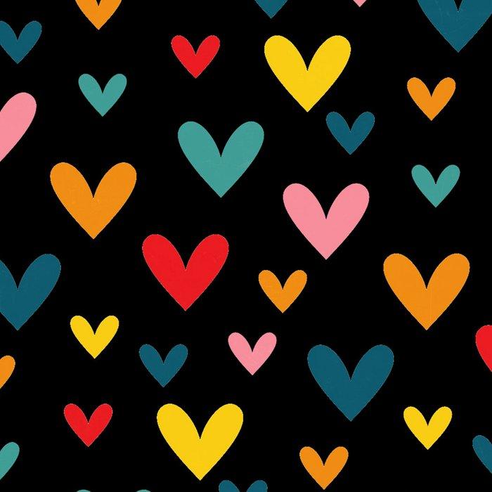 Happy Hearts on Black Leggings