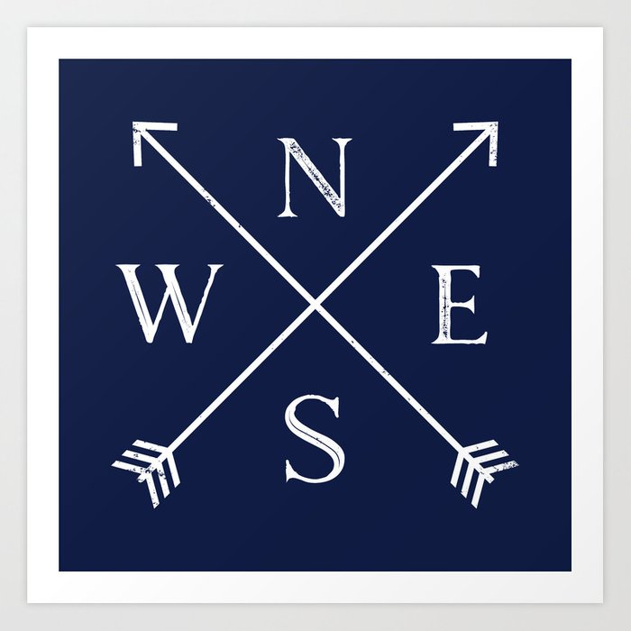 Navy Blue and White Compass Arrows Art Print