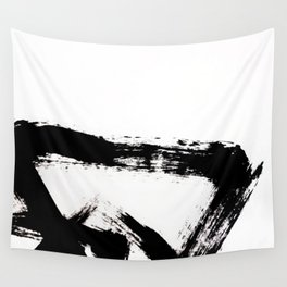 Brushstroke [8] - a simple, abstract, black and white india ink piece Wall Tapestry