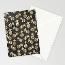 Modern chalk black elegant faux gold pineapple pattern Stationery Cards