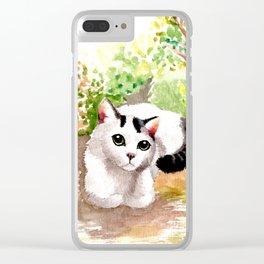 Cat in Garden Clear iPhone Case