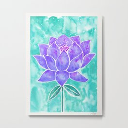 Sacred Lotus – Lavender Blossom on Mint Palette Metal Print