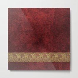 Red Lace Velvet 03 Metal Print