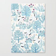 white birds garden Canvas Print