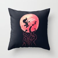 kraken Throw Pillows featuring Kraken by Freeminds