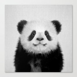 Panda Bear - Black & White Canvas Print