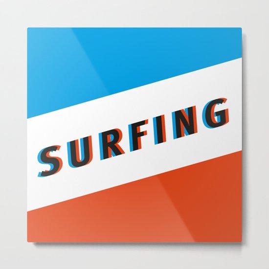 SURFING 3D - Square Metal Print