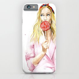 Pretty girl in a pink jacket with a lollipop  / candy girl iPhone Case