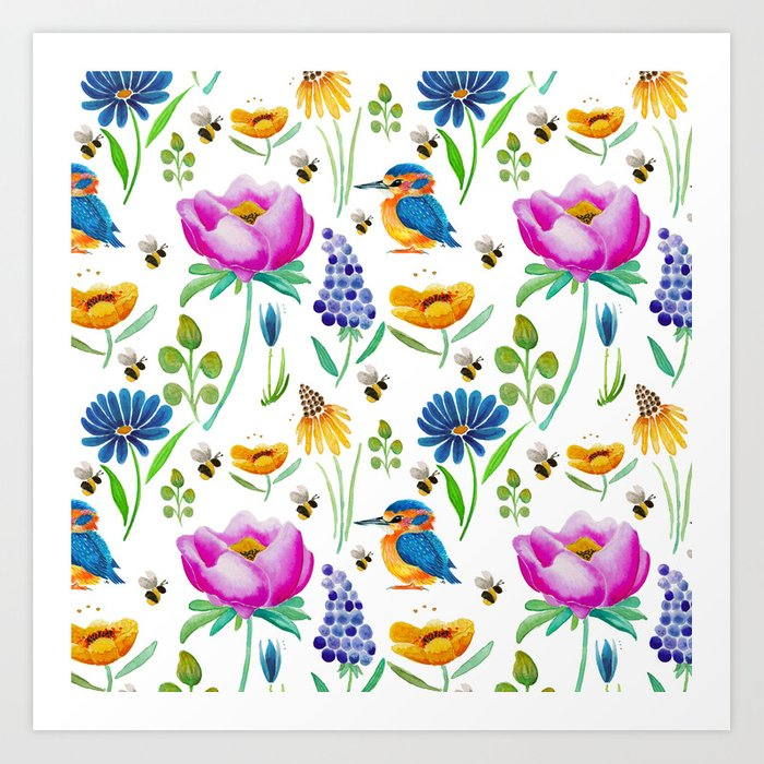 Flora Fauna Watercolour Art Print By Jessmorris Society6