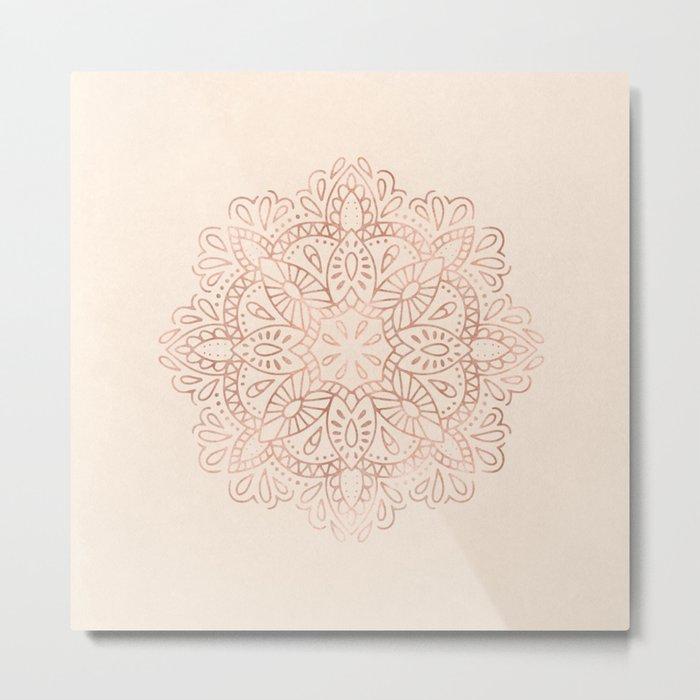 Mandala Rose Gold Pink Shimmer on Light Cream Metal Print