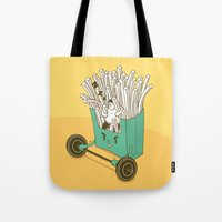 fries Tote Bags featuring French fries by BIGMOUTH