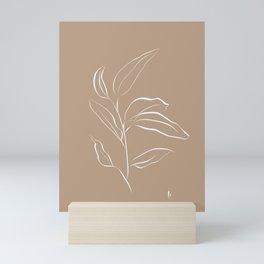 Leaf Stem: Botanical Print (White and Brown) Mini Art Print