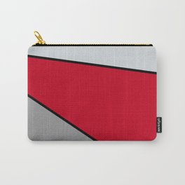 Diagonal Color Blocks in Red and Grays Carry-All Pouch