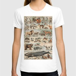 Vintage Mammals poster in French T-shirt