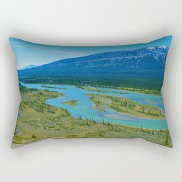 Looking over the Athabasca River on the east end of Jasper National Park, Canada Rectangular Pillow