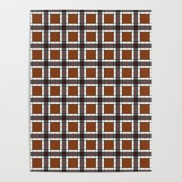 Chocolate Brown Plaid Pattern Poster