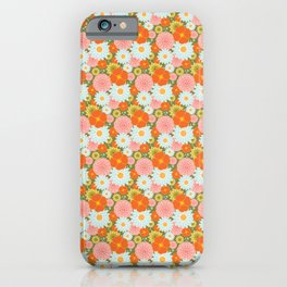 Happy Flowers in olive iPhone Case