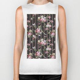 Elegant faux rose gold black stripes vintage blush pink lavender floral Biker Tank