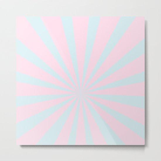 Starbust 60's pastel-Pink Aqua geometric Pattern Metal Print