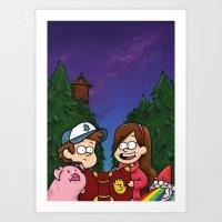 gravity falls Art Prints featuring Gravity Falls by toibi