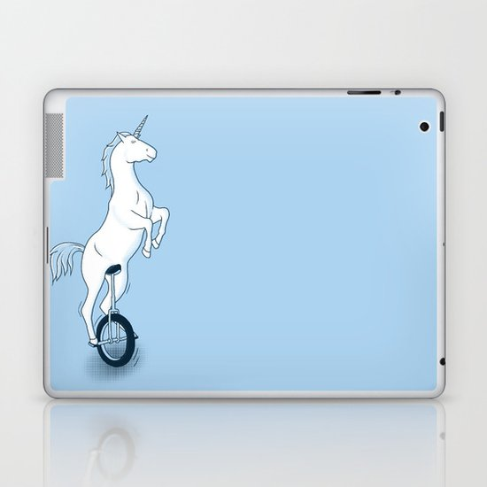 Unicorn on a unicycle - blue Laptop & iPad Skin