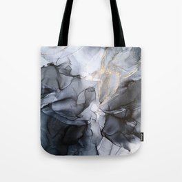 Calm but Dramatic Light Monochromatic Black & Grey Abstract Tote Bag