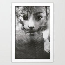 Woman & Cat Art Print