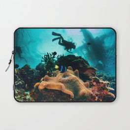 Colourful seascape with diver silhouette Laptop Sleeve
