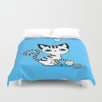 kitten Duvet Covers featuring Kitten by Freeminds